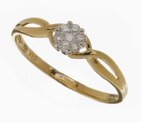 Ladies' 9ct Yellow Gold 10pts Diamond Fancy Cluster Ring