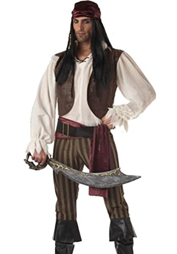 [NonEcho Men Classic Pirate Costume Halloween Outfit] (Sea Siren Sexy Costumes)