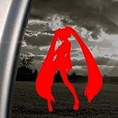 初音ミク [赤 レッド] [ 15 x 8 cm ] ミク CD Blu-ray ボーカロイド グッズ / 防水、耐久性抜群 アート ステッカー 高品質プレミアム / 車 バイク 壁 PC インテリア スーツケース ほとんど何にでも貼れる デカール シール ノートPC パソコン キャラクター