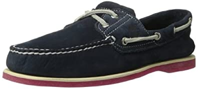 Timberland Men's Classic 2 Eye Boat Shoe,Navy/Red,8.5 M US