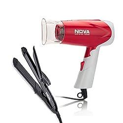 Nova Freshers Pack NHC 810 and NHP 8103 Foldable Hair Dryer (Black/Red)