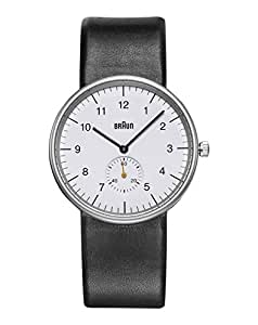 Braun Men's 3 Hand Quartz Movement Watch BN0024WHBKG With White Dial And Leather Strap