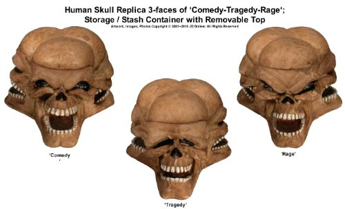 Human Skull 3-faces Theatrical Art COMEDY-TRAGEDY-RAGE By Nose Desserts Brand