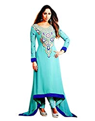 Zerel Womens Georgette Anarkali Semi-Stitched Dress Material (Ze-770 _Sea Green)