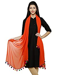 Orange Georgette Duppata With Multicolor Pom Pom Border