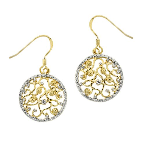 18k Yellow Gold Plated Sterling Silver Diamond-Accent Floral Medallion Earrings