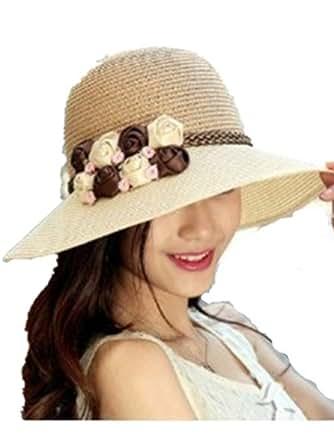 Autek Coréen chapeau de soleil de dames de mode huit fleurs (605) (beige)
