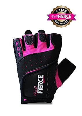 Womens Weightlifting Gloves PLUS Padded Figure 8 Lifting Wrist Straps for Powerlifting-Gym-Crossfit-Weight Training-Biking-Cycling-Best for Comfort- Grip and Callus Protection-Washable-*FREE* Fox Fierce Fitness Workout for Women Ebook by Fox Fierce