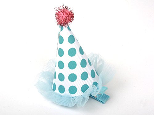 子ども 誕生日 サンタ 帽子 ヘアピン ブルー 可愛いヘアアクセ