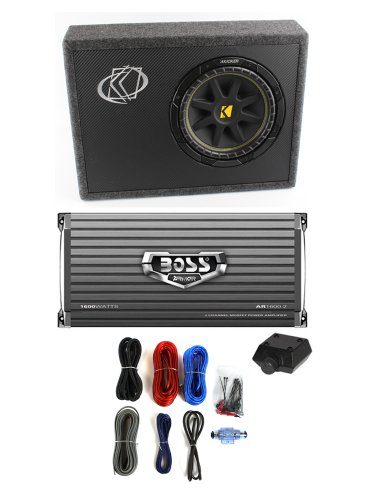 "Kicker 10Tc104 10"" 300W Loaded Car Audio Subwoofer + Sub Box +Amplifier +Amp Kit"