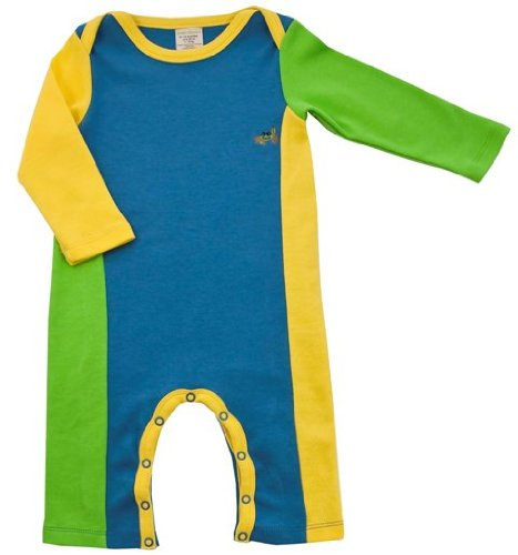 Green Nippers Alfie Organic Boys Baby Grow  (boy blue, lime & citrus yellow, 3-6 Months)