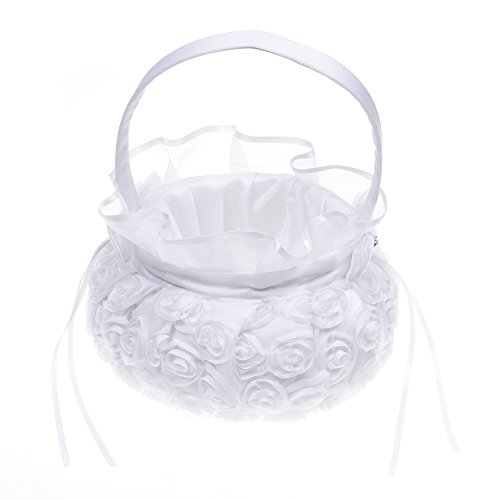 Kloud City White Embroidered Petal Wedding Flower Girl Basket With Satin Bowknot Ceremony Party Decoration