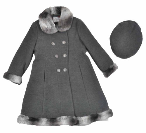 #1 Rothschild Toddler Girls Charcoal Faux Fur Trim Wool Coat With Hat (3T)