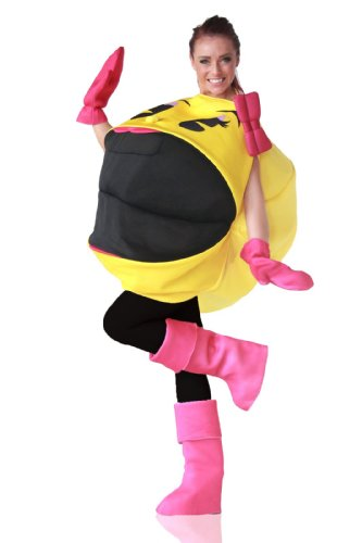 Adult Ms. Pac-Man 3D Costume with gloves and shoe covers