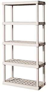 Sterilite 5-Shelf Shelving Unit - 73.25 x 36 x 18 Inches - Platinum