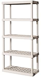 Sterilite 01558501 5-Shelf Unit with Light Platinum Shelves and Legs