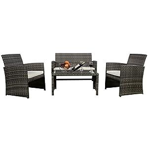GHP Outdoor Garden Patio 4-Piece Cushioned Seat Mix Gray Wicker Sofa Furniture Set