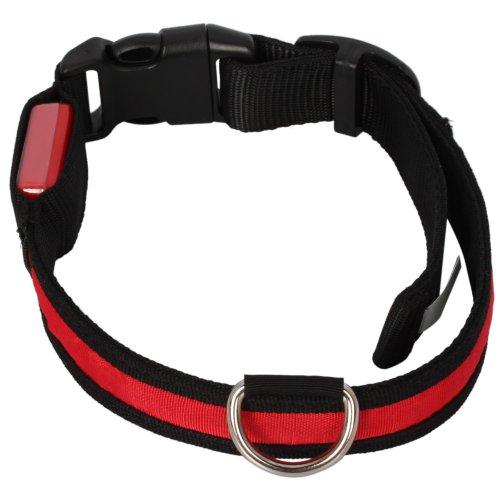 Adjustable Fashionable Flashing Nylon Led Light Pet Dog Safety Collar Red - Size L Large
