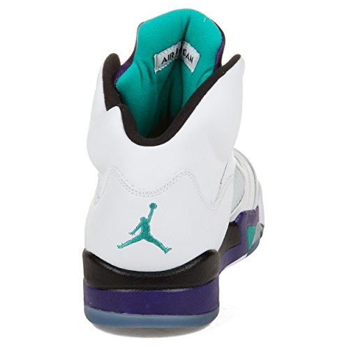 pictures of Mens Nike Air Jordan 5 Retro Basketball Shoes GRAPES White / New Emerald Grape