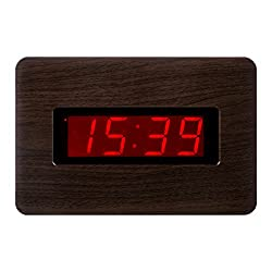 Kwanwa LED Wall Clock With 1.4'' Large Red LED Numbers Display And Wood Grain Look,Battery Operated Only,Can Be Placed Anywhere Without A Cumbersome Cord
