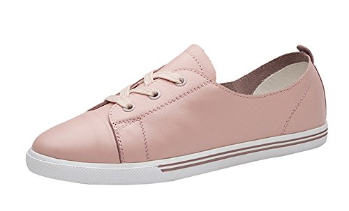 Freerun Women's Casual Lace-up Flat Leather Comfort Fashion Sneakers (5.5 B(M)US,pink)