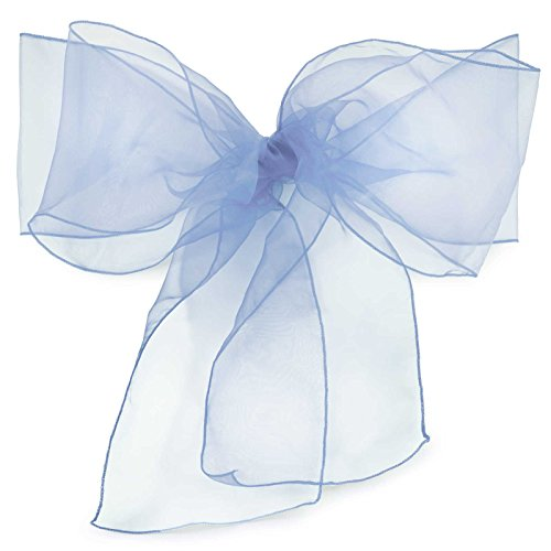 Lann's Linens Organza Chair Sashes / Bows - for Wedding or Banquet - Baby Blue - 10pcs