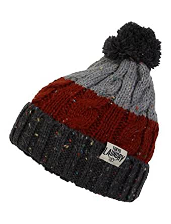 Tokyo Laundry Unisex Enstone Stripe Knitted Winter Warm Bobble Hat Charcoal Grey One Size
