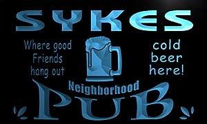 pg1839-b Sykes Neighborhood Home Bar Pub Beer Neon Light Sign