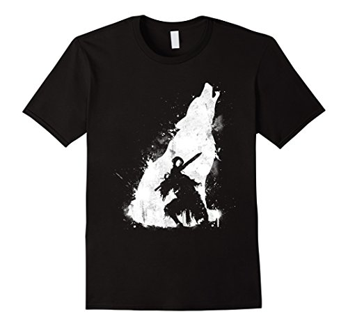 [Men's Knight and Wolf T-Shirt Medium Black] (Dark Souls Black Knight Costume)