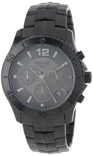 Pulsar Chronograph with Date Black Stainless Steel Men's watch #PT3293