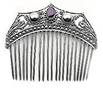 Hot Sale Large Ornate Sterling Silver Hair Comb with Genuine Amethyst