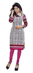 Stylish Girls Women Cotton Printed Unstitched Kurti Fabric (DT113_Grey_Free Size)