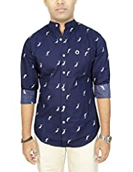 AA' Southbay Men's Navy Dolphin Printed Mandarin Collar Long Sleeve Party Casual Shirt
