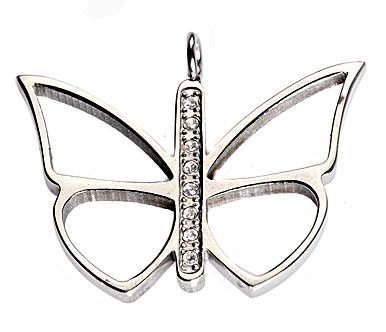 Stainless Steel Butterfly Pendant 8 2mm CZ & 17 1/2