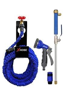 Official XHose Hose Pipe 100ft Bundle - XHose & Holder & Water Jet & 8 Speed Nozzle