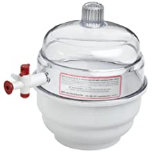 Bel-Art Scienceware 420100000 Polypropylene Bottom Space Saver Vacuum Desiccator, 14.9cm ID, 17.1cm Flange OD, 20.6cm Height, 14cm Plate Size