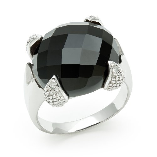 Sterling Silver Faceted Onyx Cocktail Ring with Diamond Accents, Free Shipping and Gift Box