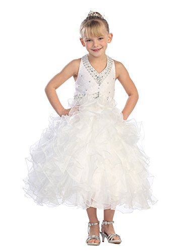 Fashion Plaza Girl's Satin Organza Halter Pageant Princess Ball Gown Dress K0040