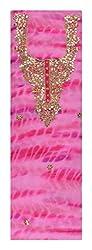 Sanskriti Women's Georgette Unstitched Kurta Material (Pink)