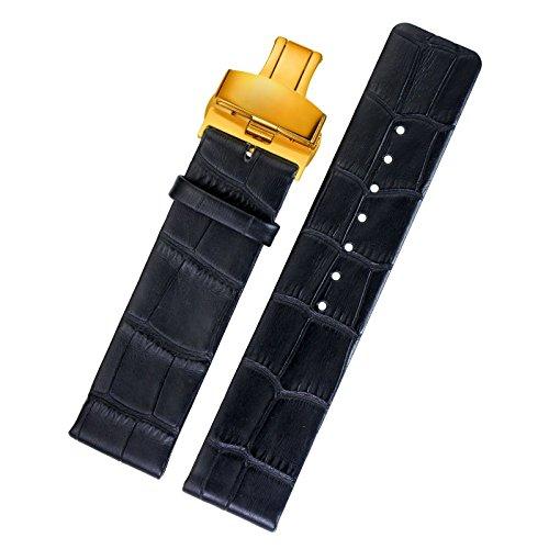 18 mm sottile sostituzione di pelle nera sostituzioni cinturino orologio d'oro - distribuzione tono fibbia opaca sottile design semplice