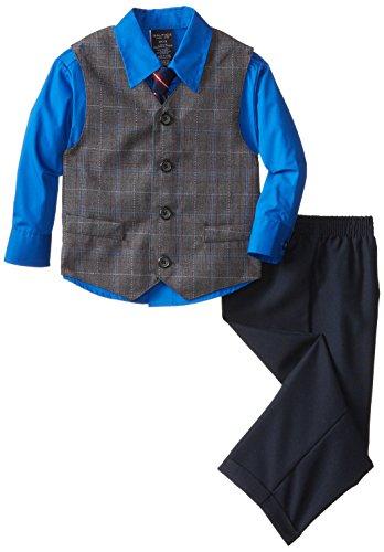 Nautica Little Boys' Fancy Plaid Vest Set,Charcoal,7