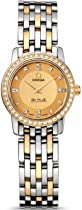 Omega De Ville Champagne Dial Steel and 18kt Yellow Gold Ladies Watch 413.25.22.60.58.001