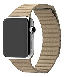 ProElite 38 mm Leather Loop Strap with Magnetic Lock Buckle Wrist Band for Apple Watch - Stone