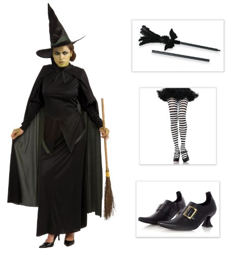 The Wizard of Oz Wicked Witch Costume: Feather Sparkle Broom, Shoes (6), Tights