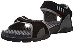 Sparx Mens Black and Grey Sandals and Floaters - 7 UK