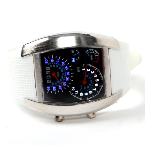 Shot-In Creative Led Watch Sector Sports Car Meter Dial Men Wrist Watch (White)