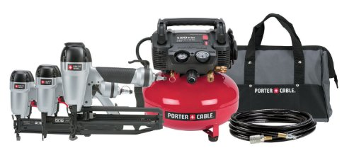 PORTER-CABLE PC3PAK Finish Nailer/Brad Nailer/Stapler Compressor Combo Kit