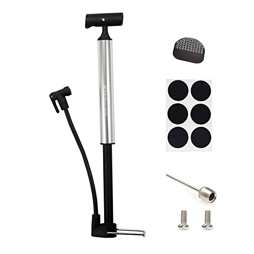 Bike Pump, Kitbest Aluminum Alloy Portable Bike Floor Pump, Mountain, Road, Hybrid & BMX Bike Tire Pump, Floor Bicycle Air Pump Compatible with Presta & Schrader Valve & Sports Ball (Silver) (Portable Air Pump Bicycle compare prices)