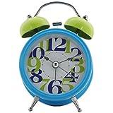 Quartz Twin Bell Alarm Clock With Light (1h111) - Blue - Analog Room Decor (Size 11.5x5.5x15.5 Cm)