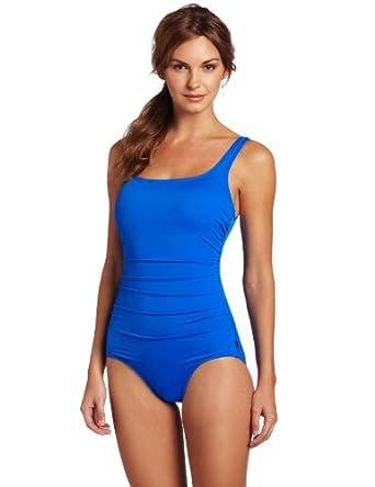 Reebok Women's Must Have Shirred Solids Swimwear, Blue, 8